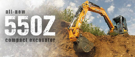 Compact Excavator features zero tail swing.