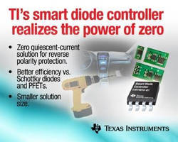 Smart Diode Controller features zero quiescent current.
