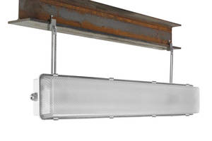 Corrosion-Resistant LED Fixture has stainless steel I-beam mounts.