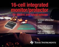 Battery Management IC monitors up to 256 cells in series.