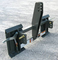 Adapter mounts skid steer type attachments to 3-pt tractor hitch.