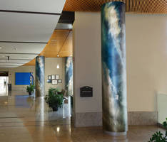 Architectural Column Covers can feature custom digital images.