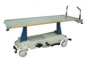 Powered Hydraulic Cadaver Carrier moves without manual effort.