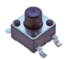 Ultraminiature SMT Tact Switch measures 4.5 x 4.5 mm.