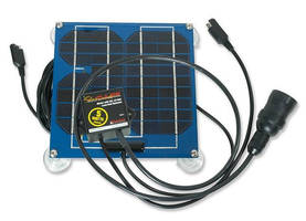 Plug-In Solar Panel maintains charge of 12 V vehicle batteries.