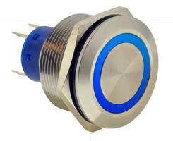 Anti-Vandal Pushbutton Switch features 25 mm panel cutout.