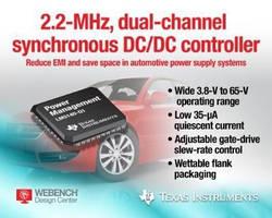DC/DC Controller has 3.8-65 V operating range.