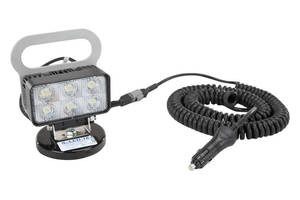 Magnetically Mounted 18 W LED Flood Light produces 1,400 lm.