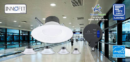 Commercial LED Downlights offer adjustable lumen output.