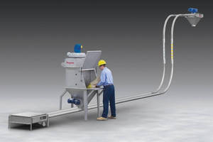 Dust-Free Bag Dump Station features tubular conveyor.