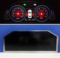 LCD Automotive Cluster Display has corner-cut design.