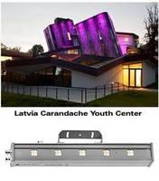 Linear LED Luminaire illuminates architectural facades.