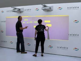 Wall-Sized Collaboration System facilitates brainstorming.