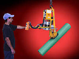 Vacuum Lifter-Tilter enables manual rotation of tubing.