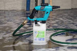 Spray Cleaning System cleans dumpsters and dock areas.