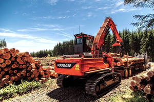 Doosan DX225LL-5 log Loader features a Tier 4 non-DPF Doosan engine.