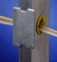 Peel-and-Stick Steel Fastener protects cables and tubes.