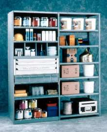 Shelving Accessories optimize industrial storage.