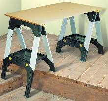Sawhorse has telescopic metal legs.