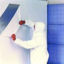 Booth Coating is water-based and goes on in seconds.