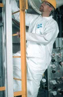 Coverall protects against liquids and particulates.