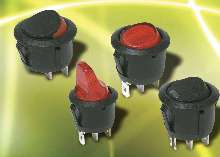 Rocker Switches feature round actuator and body.