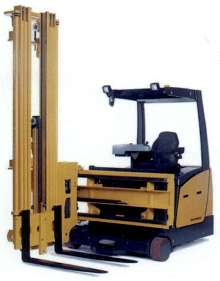 Swing Reach Forklift Truck suits narrow aisle applications.