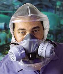 Respirator protects wearer against harmful chemicals.