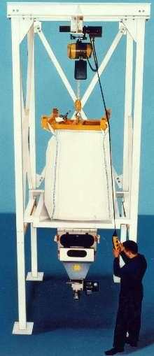 Bulk Bag Discharger incorporates hoist for bag unloading.