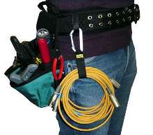 Cable Carrier attaches extra cable to tool belt or belt loop.