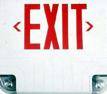 Exit Sign incorporates two emergency lamps.