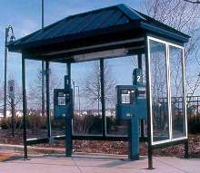 Multi-Space Parking Meter Shelter keeps patrons dry.