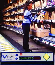 Order Picking System utilizes pick-to-light technology.