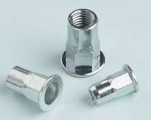 Threaded Inserts match clamp force of weld and clinch nuts.