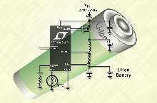 Li-Ion Battery Charger operates from any wall adapter.
