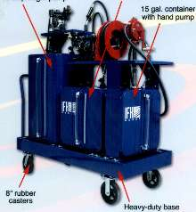Mobile Carts handle industrial fluids, oils, and lubricants.
