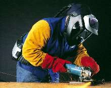 Helmet/Respirator offers protection for welding.