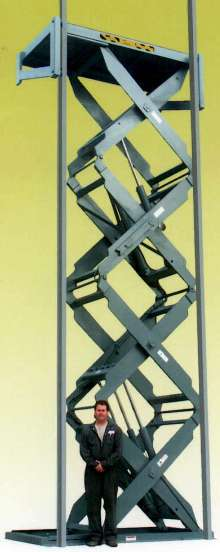 Quad Scissor Lift is suited for high-ceiling warehouses.