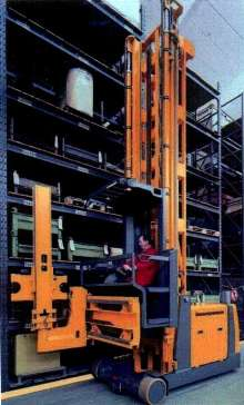 Lift Trucks access both sides of narrow storage systems.