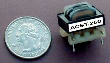 Transformer monitors current in low frequency applications.