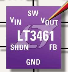 Step-Up DC/DC Converter has Schottky diode and soft start.
