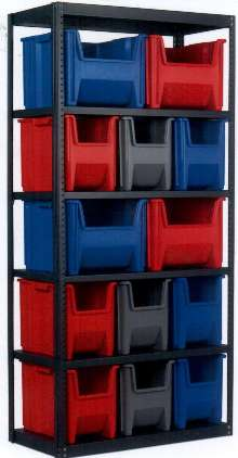 Containers maximize storage space on 36 in. shelving.