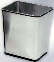 Wastebasket is available in stainless steel.