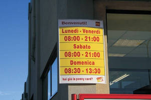 Vista System's Easily Updateable Directory Wall Frames Were Recently Installed at Penny Market Chain of Supermarkets across Italy