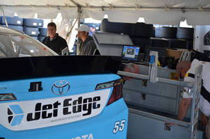 Brian Vickers Races #55 Jet Edge Toyota Camry to 11th Place Finish at Martinsville Despite Wreck, Slit Tire