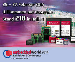 Transcend to Display Advanced Industrial Solutions at Embedded World 2014