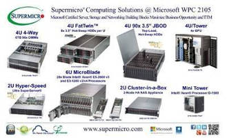 "Supermicro® Highlights 6TB 4U 4-Way 96x DIMM SuperServer® and 720TB 4U 90x 3.5"" Top-Load Hot-Swap SAS 3.0 HDD SuperStorage® at Microsoft WPC 2015"