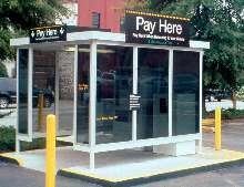 Parking Shelters protect patrons from elements.