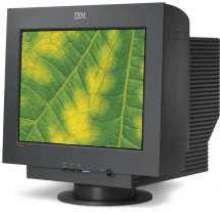 CRT Monitor features flat screen technology.