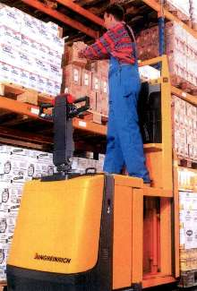 Order Picking Truck features fixed stand-on platform.